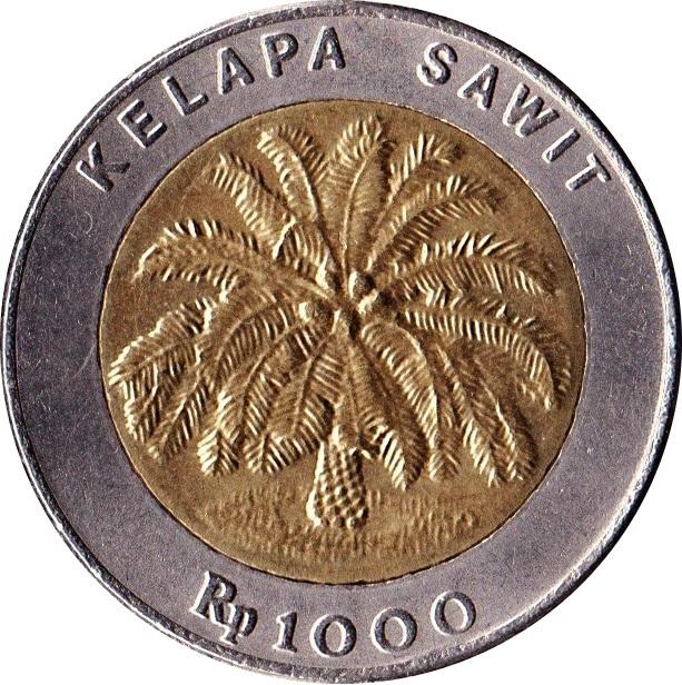 INDONESIA 1000 1,000 Rupiah KM56 1995 or 1996 PALM TREE BI METAL UNC MONEY COIN
