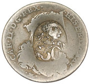 50 Paras (Countermarked over 20 Grani Charles II) – obverse
