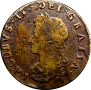 ½ Penny - James II (Siege Coinage) – obverse