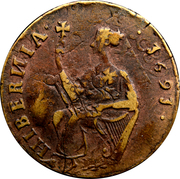 ½ Penny - James II (Siege Coinage) – reverse