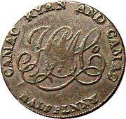 ½ Penny (Dublin - Camac Kyan and Camac) – reverse