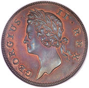 ½ Penny - George II (small letters) – obverse