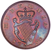½ Penny - George II (small letters) – reverse
