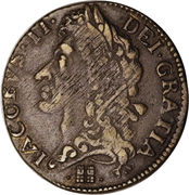 1 Shilling - James II (Gun Money Large Coinage) – obverse