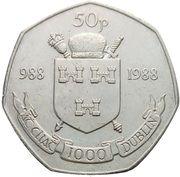 50 Pence (Dublin Millennium) – reverse