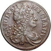 ½ Penny - Charles II (large letters) – obverse