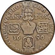 "1 Crown - James II (Gun Money Coinage; sword after ""REX"") – reverse"