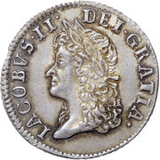 12 Pence - James II (Gun Money Coinage; Silver Proof Issue) – obverse