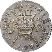 12 Pence - James II (Gun Money Coinage; Silver Proof Issue) – reverse