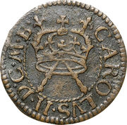 """1 Farthing - Charles II (""""Armstrong"""" issue) – obverse"""