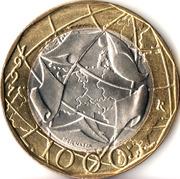 1000 Lire (European Union; Old West Germany Map) -  reverse