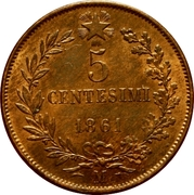 5 Centesimi - Vittorio Emanuele II – reverse