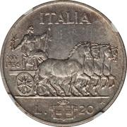 20 Lire - Vittorio Emanuele III -  reverse