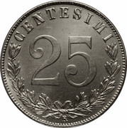 25 Centesimi - Vittorio Emanuele III – reverse