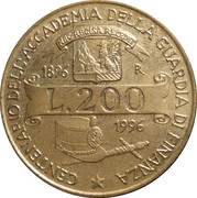 "200 Lire (100th Anniversary of  Accademy of  ""Guardia di Finanza"") -  reverse"