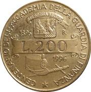 """200 Lire (100th Anniversary of  Academy of  """"Guardia di Finanza"""") -  reverse"""