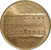 200 Lire (100th Anniversary of State Council) -  reverse