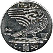 50 Centesimi - Vittorio Emanuele III (non-magnetic) -  reverse