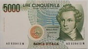 5000 Lire (Bellini) – obverse