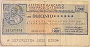 200 Lire Istituto Bancario San Paolo Di Torino – obverse