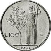 100 Lire (small type) -  reverse
