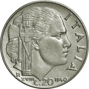 20 Centesimi - Vittorio Emanuele III (magnetic; smooth edge) – reverse