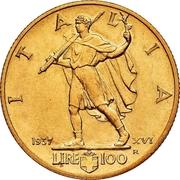 """100 Lire """"Littore"""" - Vittorio Emanuele III (Small issue) -  obverse"""