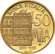 50 000 Lire  (Bank of Italy) – reverse
