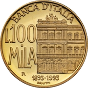 100 000 Lire (Bank of Italy) – reverse
