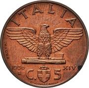 5 Centesimi - Vittorio Emanuele III (first type; trial strike) – reverse