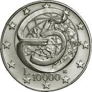 10 000 Lire (Messina Conference) – reverse