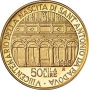 50 000 Lire (Saint Anthony of Padova) – reverse