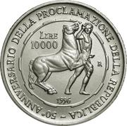 10 000 Lire (Proclamation of the Italian Republic) – reverse