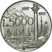 5000 Lire (Giovanni Antonio Canal) – reverse