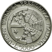 5000 Lire (Italian Presidency of EU) – reverse