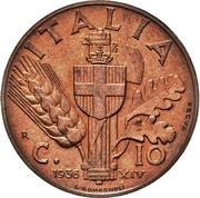 10 Centesimi - Vittorio Emanuele III (first type; trial strike) – reverse