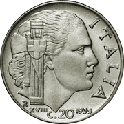 20 Centesimi - Vittorio Emanuele III (non-magnetic; reeded edge) – reverse