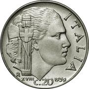 20 Centesimi - Vittorio Emanuele III (non-magnetic; smooth edge) – reverse