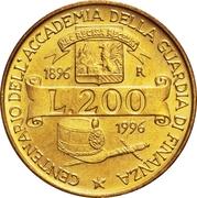 """200 Lire (Academy of  """"Guardia di Finanza"""") -  reverse"""