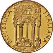100 000 Lire (Pulpit of thr Chruch of Sant' Andrea in Pistoia) – obverse