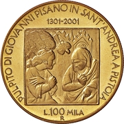 100 000 Lire (Pulpit of thr Chruch of Sant' Andrea in Pistoia) – reverse