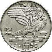 50 Centesimi - Vittorio Emanuele III (non-magnetic) – reverse