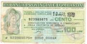 100 Lire (Banca provinciale lombarda) – obverse