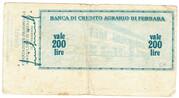 200 Lire (Banca di credito agrario di Ferrara) – reverse