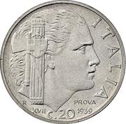 20 Centesimi - Vittorio Emanuele III (magnetic; trial strike) – reverse
