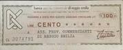 100 Lire - Banca Agricola Commerciale di Reggio Emilia – obverse