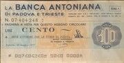 100 Lire -  La Banca Antoniana – obverse