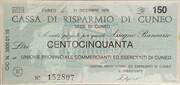 150 Lire - Cassa di Risparmio di Cuneo – obverse
