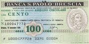 100 (Banca S. Paolo - Brescia) – obverse