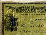 100 Lire (La Banca Di Credito Agrario Di Ferrara) -  obverse
